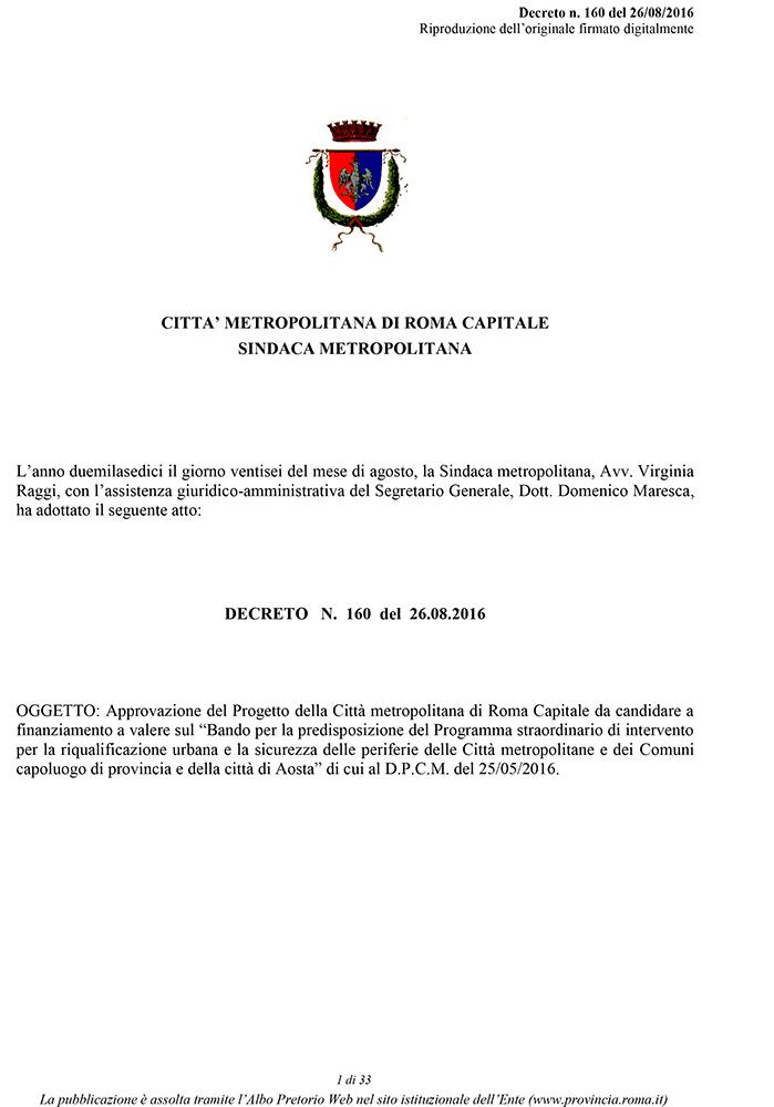 Progetto della Città metropolitana di Roma Capitale da candidare a finanziamento a valere sul Bando per la predisposizione del Programma straordinario di intervento per la riqualificazione urbana e la sicurezza delle periferie