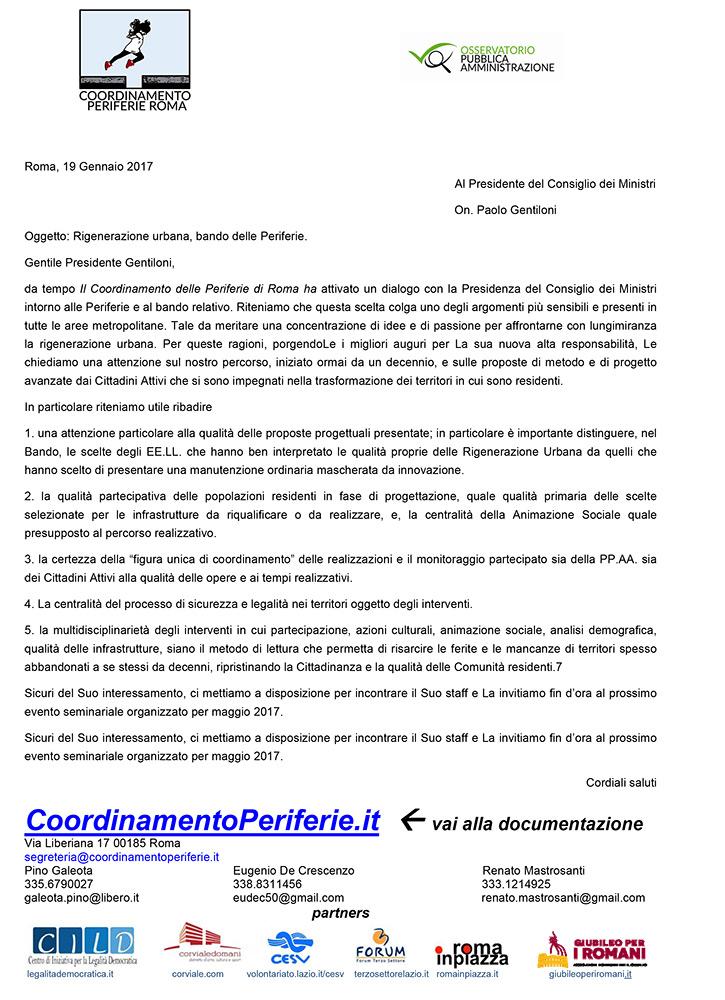 Lettera al Presidente del Consiglio dei Ministri On. Paolo Gentiloni su  Rigenerazione urbana, bando delle Periferie