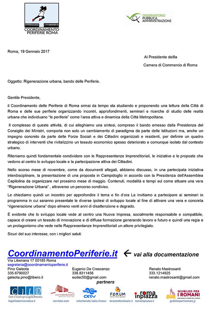 Lettera al Presidente della Camera di Commercio di Roma