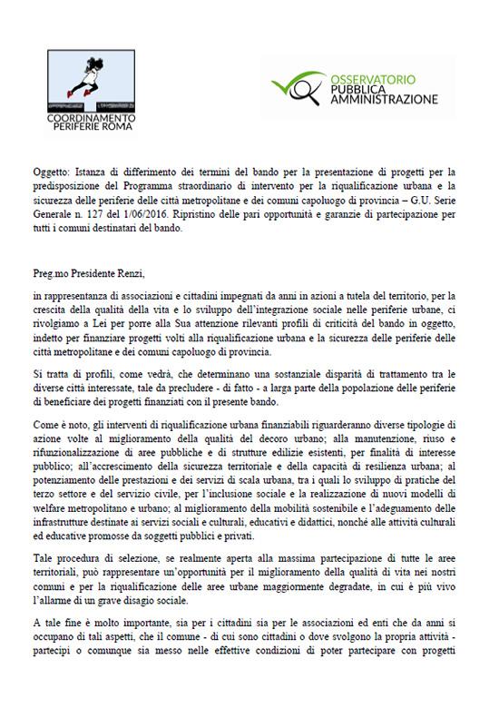 Istanza del Coordinamento Periferie di Roma
