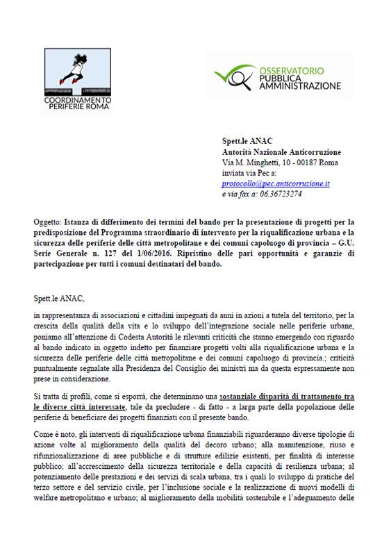 Lettera del Coordinamento delle Periferie all'ANAC su bando periferie