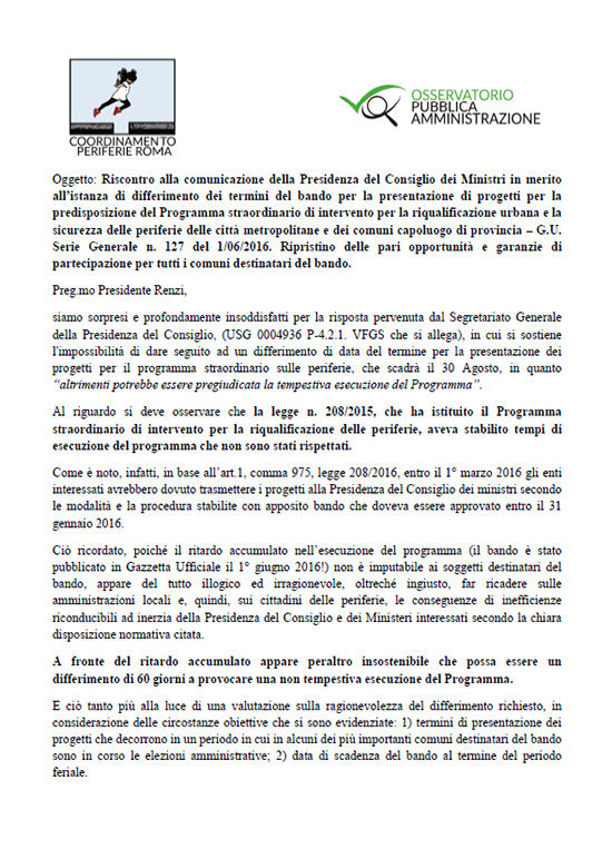 Lettera di risposta del Coordinamento Periferie alla Presidenza del Consiglio
