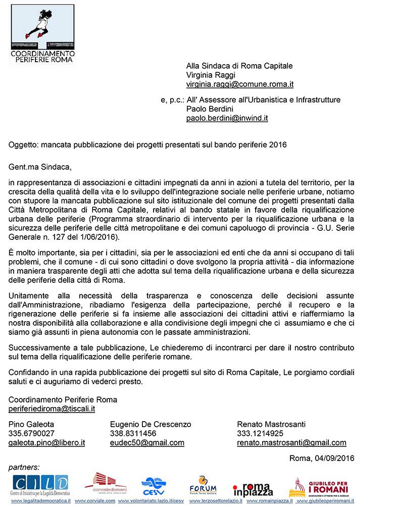 Lettera del Coordinamento Periferie alla Sindaca di Roma Capitale sulla mancata pubblicazione dei progetti presentati sul bando periferie 2016